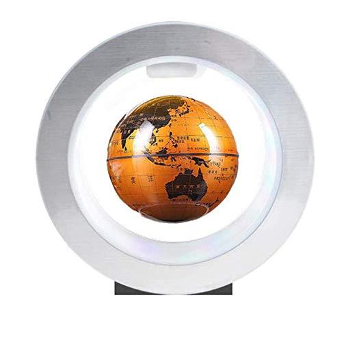 WXXW 4 Pulgadas Floating Globe con Luces Color LED,Amarillo Globo Terráqueo Flotante para Niños Regalo Decoración de Escritorio de Oficina en Casa Regalo de Alta Tecnología