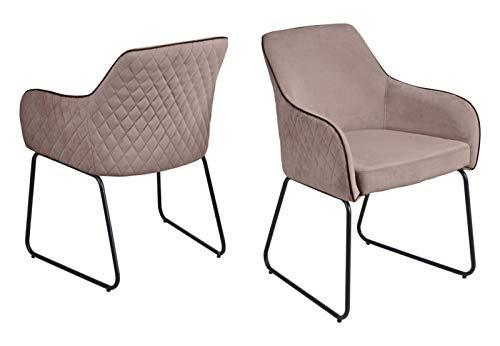 Set one by Musterring Stuhl Hampton 2 STK, ESS-Zimmerstuhl aus samt und gepolstert mit Armlehnen, Altrosa