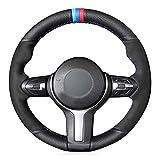 Ltxdczs para Civic Si 2002-2004, para Honda S2000 2000-2008, para Acura RSX Type-S 2005 Cubierta de Volante de Coche de Cuero Negro Cosida a Mano