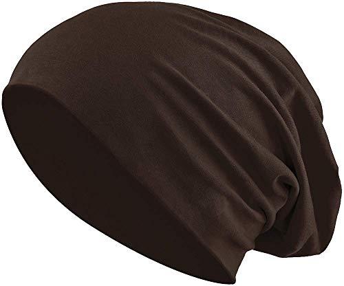 Balinco Jersey Baumwolle elastisches Long Slouch Beanie Unisex Mütze Heather in 35 (3) (Dark Brown)