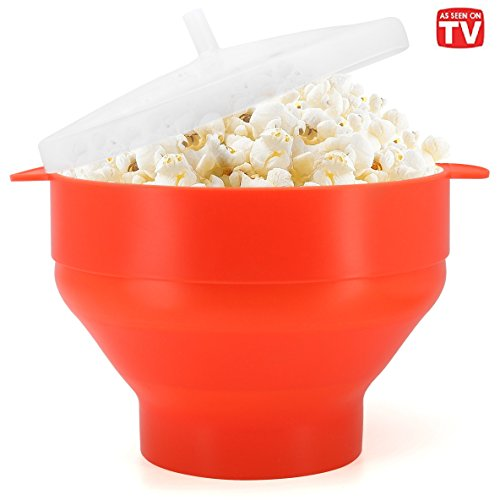 Fantastic Deal! Microwaveable Silicone Popcorn Popper, BPA Free Collapsible Hot Air Microwavable Pop...