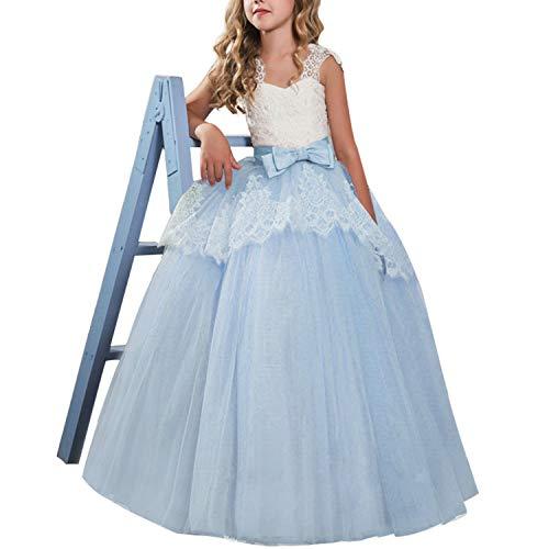 TTYAOVO Vestido de Princesa para Niñas Vestido de Fiesta de Bodas de Dama de Honor de Encaje Floral Vestido de Fiesta Tamaño 150 9-10 Años 02 Azul