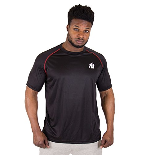 GORILLA WEAR Performance T-Shirt - schwarz/rot - mit Logo Aufdruck zum Sport Alltag Freizeit Workout Training leicht bequem, XXL