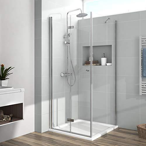 EMKE Duschkabine 80 x 80 x 185cm Eckeinstieg Falttür Dusche 180º Klappbar Duschwand Duschabtrennung mit Seitenwand 6mm ESG Sicherheitsglas