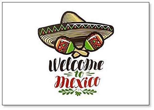 Benvenuti in Messico. Calamita per frigorifero con illustrazione di Sombrero e Maracas.