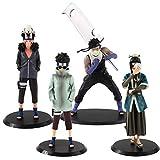 4Pcs/Set Anime Naruto Shippuden Haku Aburame Shino Inuzuka Kiba Momochi Zabuza PVC Action Figures Toys Collection Model Doll Gifts 20Cm