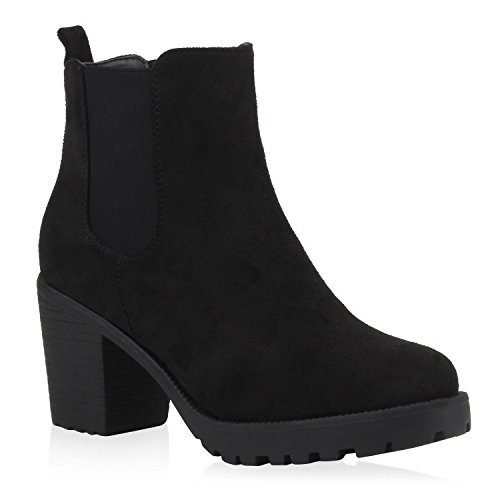 Stiefelparadies Damen Stiefeletten Chelsea Boots Wildleder-Optik Schuhe High Heel Booties...