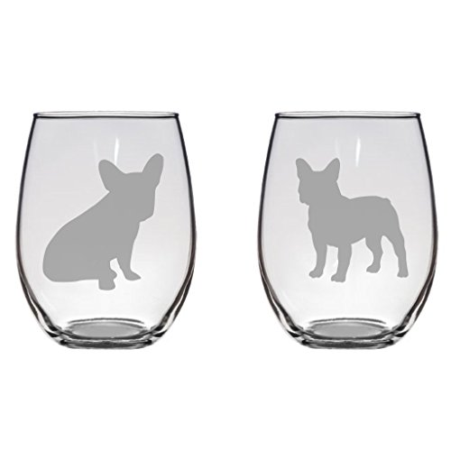 French Bulldog Set Etched 20.5 Stemless Wine Glasses Set of Two