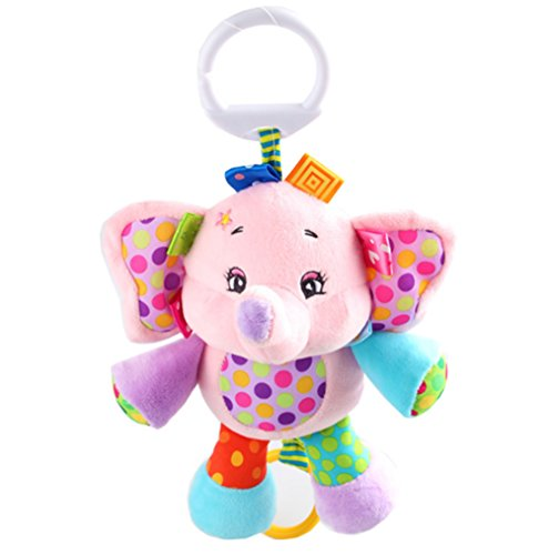 Rolina Baby Musical Stroller Crib Toys Cute Animal Rattle Plush Doll for Infant Toddler Kids (Pink Elephant)
