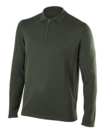 FALKE Herren, Polo Muirfield Poloshirt  Merinowoll-/Kaschmirmischung, 1 er Pack, Grün (Vertigo 7962), Größe: M