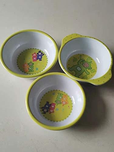 Teletubbies - Juego de vajilla de melamina sin BPA, diseño de Mickey Mouse de acero inoxidable con cuchara y tenedor para cubiertos infantiles (estilo 2)