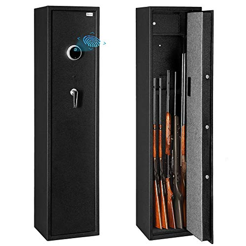 Bonnlo Biometric Rifle Safe Quick Access Gun Safe Large 5 Gun Cabinet Fingerprint Gun Safe with Lockable Box for Handgun/Ammo