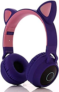 Pshare Cute Foldable Over/On Ear Headsets with LED Light for Girl Adult, Bluetooth 5.0 Kids Cat Headphones for iPhone/iPad...