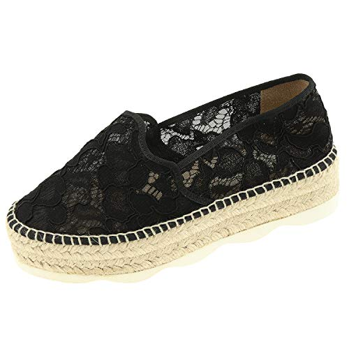 Gaimo damesschoenen Plateau Espadrilles Taki 429918001 zwart 20675251721 + schoenpoetshandschoen