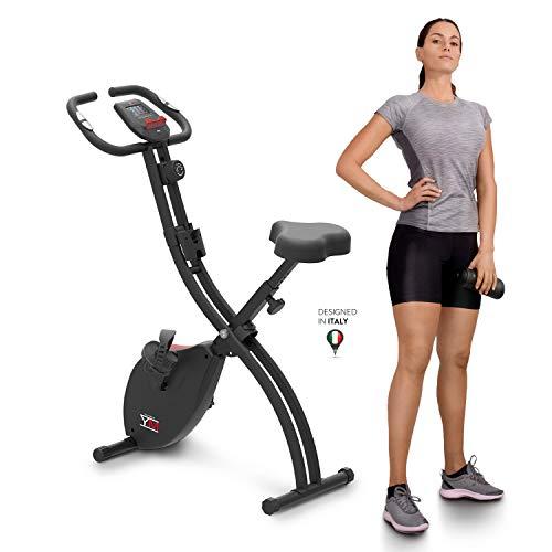 YM Cyclette Pieghevole da Casa X-BIKE, Resistenza Magnetica, Display Digitale Facile Lettura, Sensori Cardio Sella Imbottita Comfort Extralarge, Pedali Regolabili, Ruote, Pieghevole, Sicura e Stabile