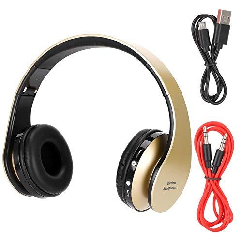 FOLOSAFENAR Auriculares Bluetooth Auriculares Bluetooth Cable de Audio de Soporte Suave y Ligero, para la mayoría de los tamaños de Cabeza(Golden)