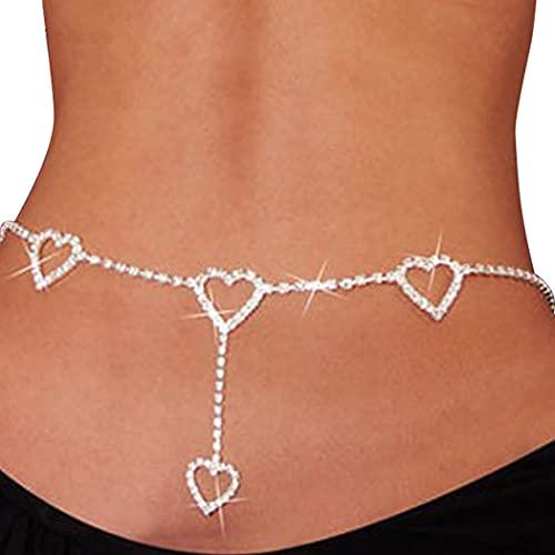 Sethexy Diamante de imitación Forma de corazón Cadena de cintura Plata Cadena del vientre Brillante playa Cadena de estómago Amor Cadena de bikini Accesorios para mujeres y niñas