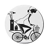 Runde Mausmatte, Fahrrad-Mauspad für Computer, moderne Silhouette-Stil-Grafik der jungen Frau auf dem Fahrrad zum Golfspielen, rundes rutschfestes modernes Mousepad aus Gummi, anthrazitgraues und weiß