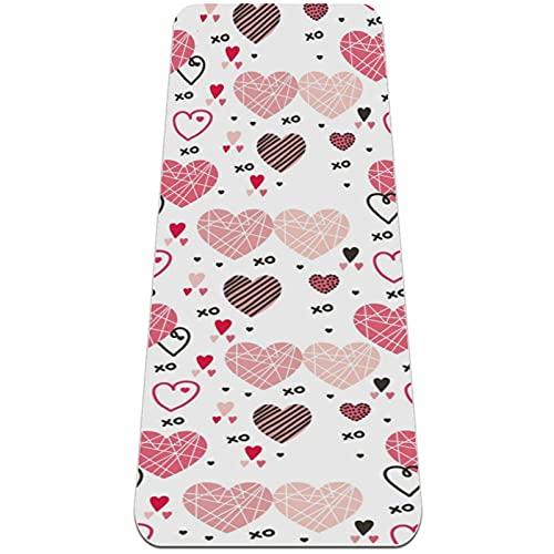 Amor Corazones Rosa Esterilla de Yoga TPE Lindo tapete Antideslizante para el Suelo con Bolsa para Mujeres Hombres niños Adultos 183x61cmx0.6cm