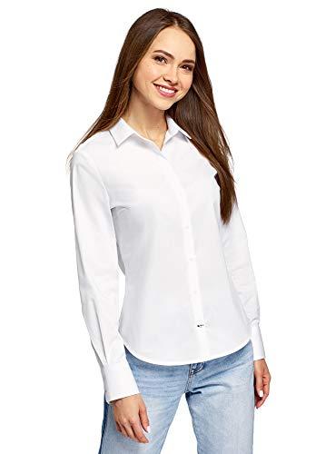 oodji Ultra Damen Baumwoll-Hemd Basic, Weiß, DE 34 / EU 36 / XS