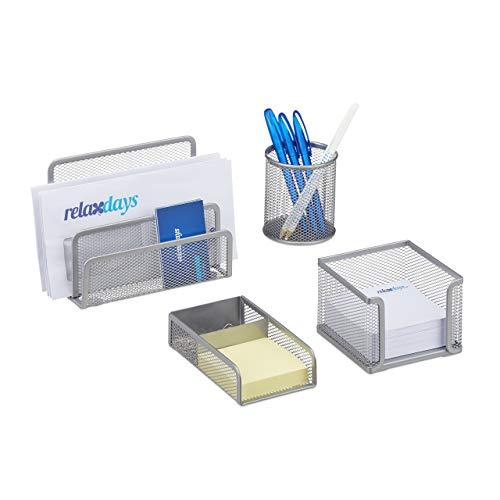 Relaxdays Schreibtisch Organizer Set 4-teilig, Mesh Metall Zubehör mit Briefablage, Stiftehalter und Zettelbox, silber