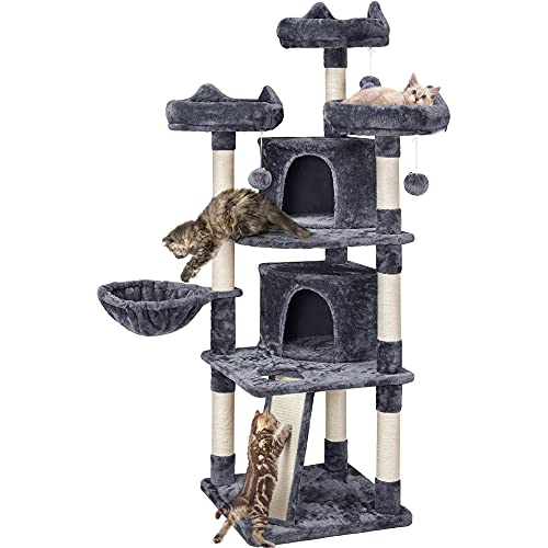 Yaheetech 68.5in Multi-Level Cat Tree Large Cat Condo with Sisal-Covered Platforms Scratching Board & Scratching Posts, Cozy Perches, Stable Cat Tower Cat Condo Pet Play House, Dark Gray