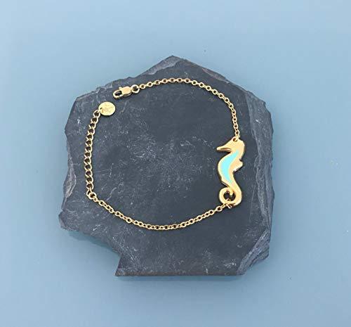 Pulsera de mujer de caballito de mar dorado acero inoxidable, pulsera de mujer, idea de regalo, regalos de joyas, joya de caballito de mar, pulsera de oro