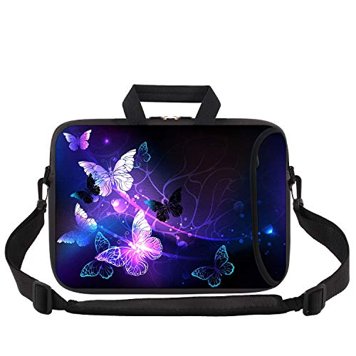 Laptop Bag 13-13.3 inch, iCasso Soft Neoprene Laptop Carrying Case with Adjustable Shoulder Strap Compatible with 13-13.3 inch MacBook Pro,MacBook Air, Notebook Computer, Ultrabook, Purple Butterflies
