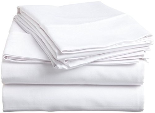 Hospital Bed Sheets Set-White Solid 400 Thread Count 100% Cotton Sheet,Long-Staple Combed Pure...