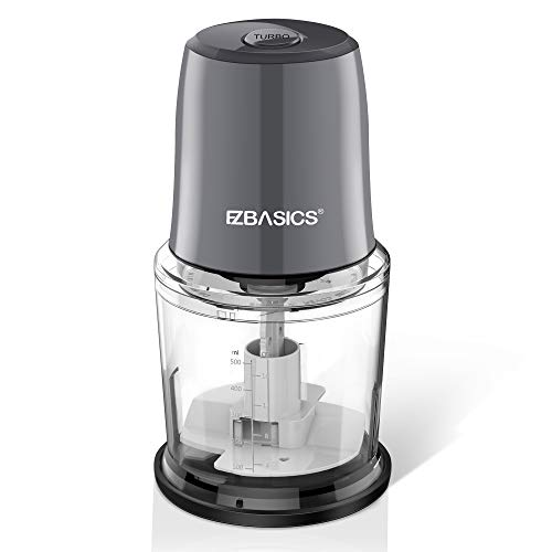 EZBASICS Food Processor, Electric Food Chopper for Vegetables, Fruits, Nuts, Ice Cubes, 2 Speed Kitchen Grinder With Sharp Blades, 2 Cup Capacity (Silver)