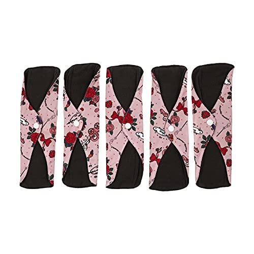 HEALLILY 5 Unidades Almohadillas Sanitarias Reutilizables Almohadillas Menstruales de Carbón Impermeables Almohadillas Sanitarias Mama Panty Forros (Colores Surtidos)
