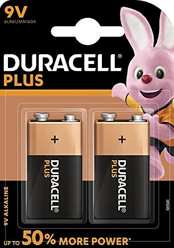 Duracell Plus Power Typ 9V Alkaline Batterien, 2er Pack