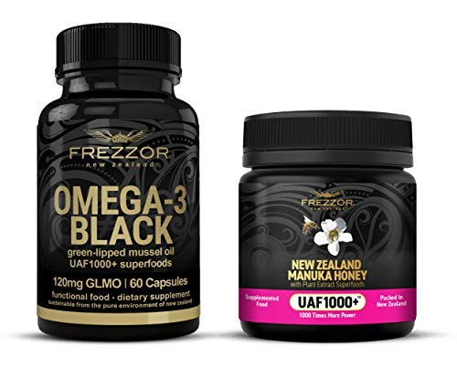 FREZZOR Omega-3 Black + FREZZOR Manuka Honey UAF1000+, Cold & Flu Relief, Sore Throat Symptom Relief, Immune System, Anti-Inflammatory, Antioxidant, New Zealand Green Lipped Mussel Omega-3 Supplement
