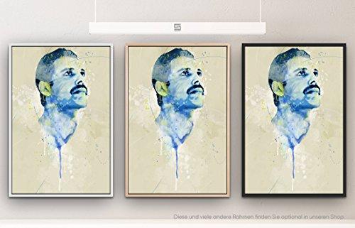 Paul Sinus Art Freddie Mercury IV 90x60cm auf Leinwand im Schattenfugenrahmen Natur schlicht - kann bspw. mit Einer Lasur weiterbearbeitet Werden