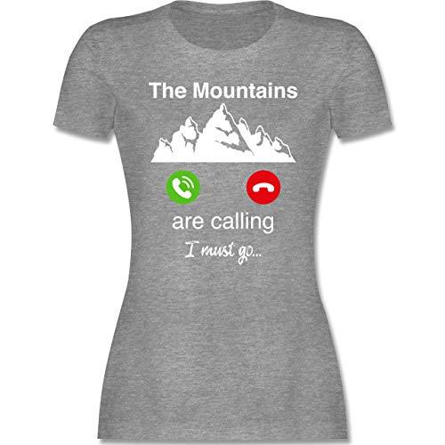 Wintersport - The Mountains Are Calling I Must go - S - Grau meliert - Tshirt The Mountain - L191 - Tailliertes Tshirt für Damen und Frauen T-Shirt