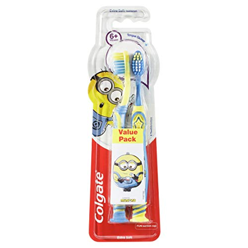 Colgate Kids Minions Manual Toothbrush for Children 6+ Years, Value 2 Pack, Extra Soft Bristles, Colours May Vary