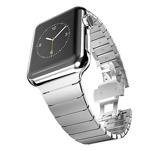 Taltal Correa de Reloj para Apple Watch Serie 4/3, Correa de Repuesto de Acero Inoxidable, Pulsera de eslabones iWatch de Metal con Cierre de Doble botón para Apple Watch-42Mm/44Mm-Plata
