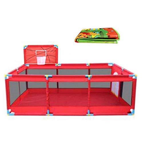 Parc Bebe Grand Parc de Jardin d'enfants, barrière de sécurité pour Enfants avec Porte, pour Enfants Bébés garçons, (Couleur : Red, Taille : 128×190×66cm)