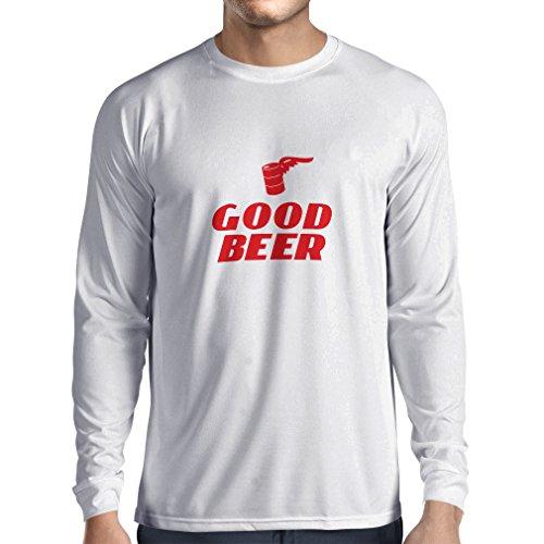 lepni.me Herren T Shirts Ich Brauche EIN gutes Bier, Geschenk für Bierliebhaber Partykleidung (Large Weiß Rote)