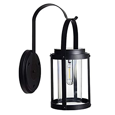 Solar Wall Lantern Outdoor Sconce Dusk to Dawn, Garden Exterior Wall Light Lantern, Anti Rust Waterproof Led Hanging Solar Lamp for Porch,Pathway,Yard,Patio