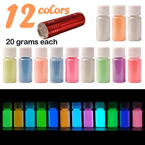 12 Color Glow in The Dark Pigment Powder with UV Lamp, Luminous Powder Non-Toxic Skin Safe Long Lasting for Epoxy Resin Paints, Acrylic Paint, Resin Crafts, Music Festivals/Theme Party/Halloween