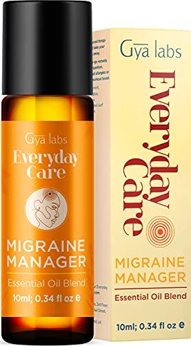 Gya Labs Migräne Relief Ätherisches Öl Roll On - Pfefferminze & Lavendel für Kopfschmerz Linderung & Stressabbau (10 ml) - 100% reine & natürliche Roll On Ätherische Ölmischungen