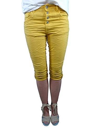 Karostar by Lexxury Damen Baggy Boyfriend Stretch Shorts Bermuda Capri Krempel Hose Knopfleiste Metall Balls rund Nieten mais XL-42