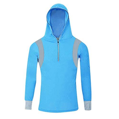 Aiserkly Mantel Herren Regatta Jacke Baumwolle Windbreaker Lange Ärmel Wasserdicht Tops Hoodie Sweatshirts Angelanzug Reißverschluss Bluse Weiß Blau Gr. Large, blau