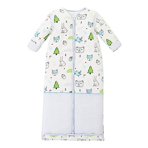 lulalula Saco de dormir para bebé, saco de dormir grande, manga desmontable, 100% algodón orgánico y seda para niños de 3 a 6 años de 59 pulgadas, unisex, saco de dormir de manga larga