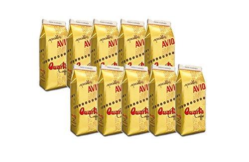 Caffè Quarta Avio Oro macinato. N. 10 confezioni da 250 g. Caffè italiano pugliese salentino prodotto e confezionato in Salento. Original Italian coffee made in Salento Apulia.