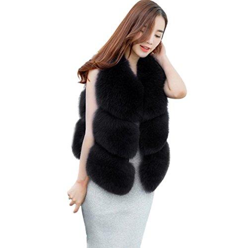 Sunward Fashion Women's Warm Long Faux Fox Fur Vest Waistcoat Sleeveless Jacket Coat (L, Black)