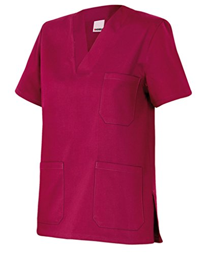 Velilla 589/C67/T0 Camisola pijama de manga corta con escote en pico, Burdeos