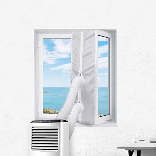 Sekey - Junta de ventana para aire acondicionado portátil, secador de aire, deshumidificador de aire caliente, parada de aire caliente para ventana de sótano (400 cm), Blanco