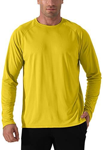 Herren UPF 50+ UV Sonnenschutz Shirt Langarm Performance T-Shirt Sun Protection Shirt Outdoor Langarm Hemd Atmungsaktiv Wandershirt Herren Surf Laufen Angeln Wandern Shirts Gelb